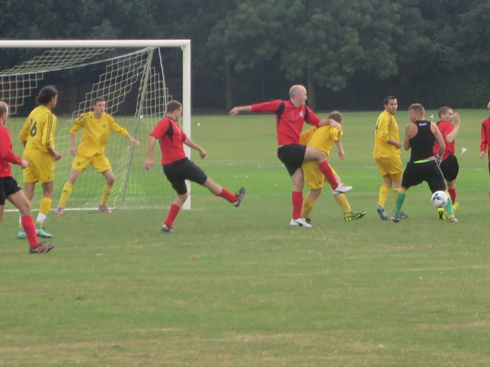 Lenners takes up an interesting position for the keeper.