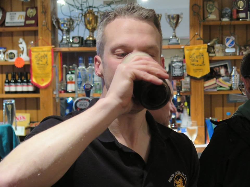 DQ downs his punishment pint