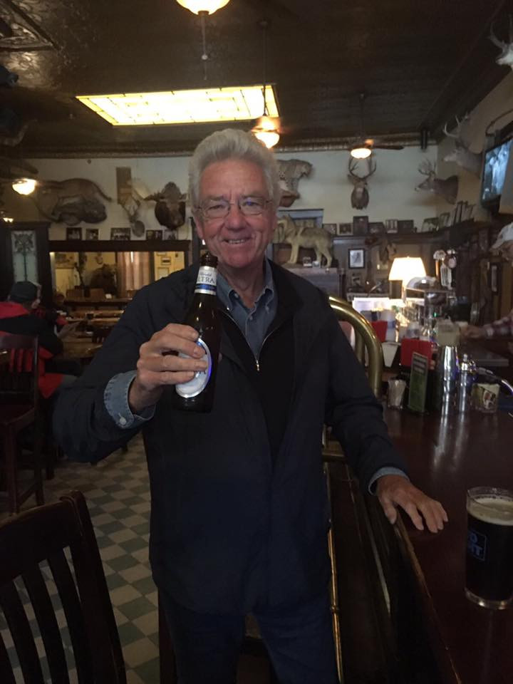 Chairman Max in the USA having a beer