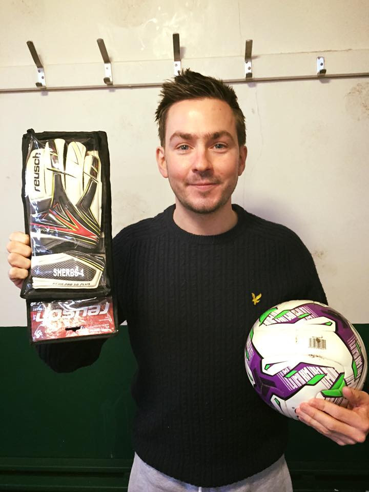 Super hands: Sherbs gave us a peep at his personalised gloves prior to their first outing in the 2s' draw with South Bank yesterday