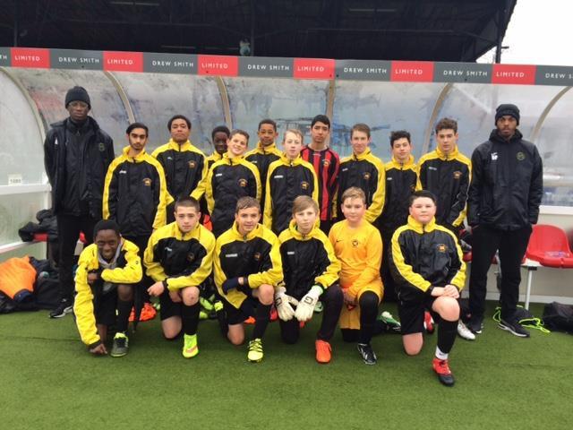 Under 14s in Sutton Utd's dugout