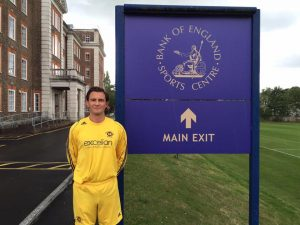 Captain James Tilley just before he led our troops out against Bank of England. Big thanks once again to Excelian for sponsoring our awesome kit this season!