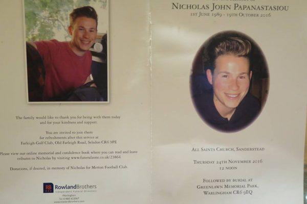 Nick Papanastasiou Funeral